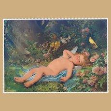 """1893 Worlds Fair Chromatography  Cupid Resting """"Le reveil de l'Amour"""