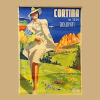 Original 1930's Travel Poster Cortina  Italy