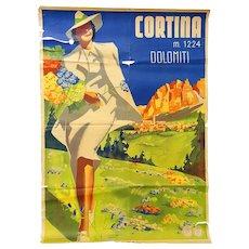 Original 1930's Travel Poster Cortina  Italy