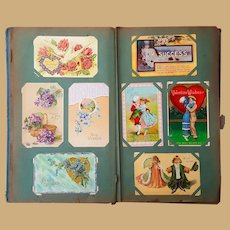 1913 Art Nouveau Postcard Album 200  Cards RPPC,Halloween,Holiday New York small towns