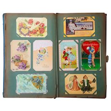 1913 Art Nouveau Postcard Album 200  Cards RPPC,Halloween,Holiday New York small towns