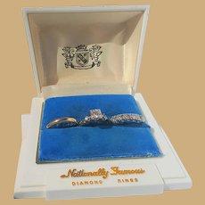 Gorgeous  Estate 14k  Diamond Bridal Set in Custom Case