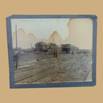 1896 St.Louis Cyclone Tornado Destruction Railroad Depot  Antique Photo