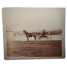 Antique Albumen photo of Northern California dapper couple in Studebaker Carriage