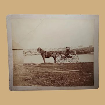 Antique Albumen photo of Northern California dapper couple in Studebaker Carriage
