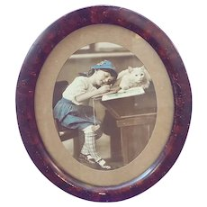 Edwardian Oval Framed Photo of Young Girl with her White Cat