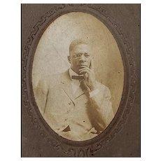 Cabinet Photo of Handsome Studious Black Gentleman Dublin Laurens County Ga. Harriet Hosley Industrial School