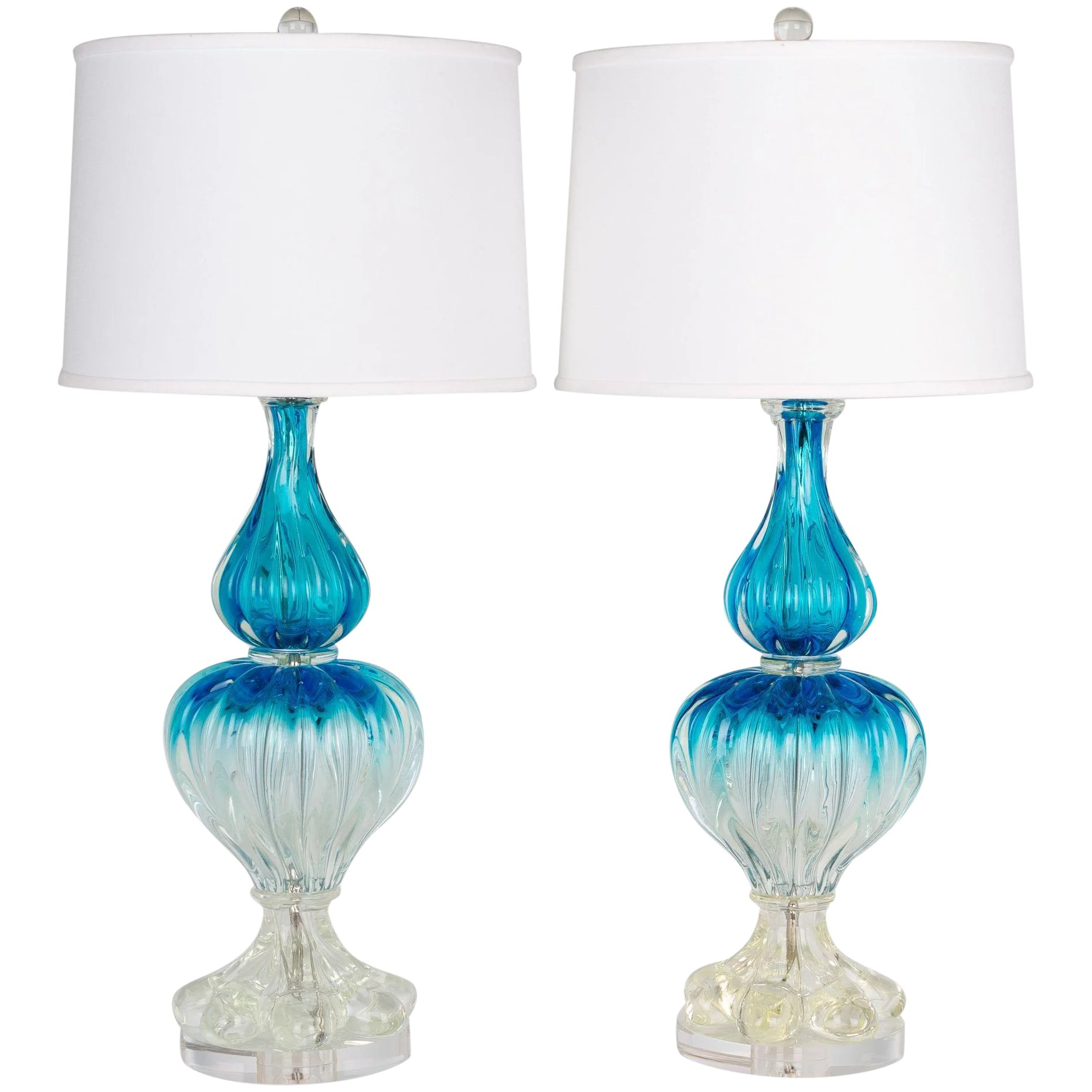 Picture of: Pair Of Murano Glass Lamps Olivier Fleury Inc French Antiques Ruby Lane