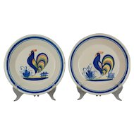 Pair of Henriot Quimper Rooster Plates