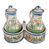 French or Italian Faience Oil & Vinegar