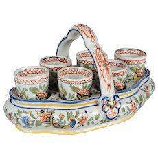 19th c. French Desvres Faience Egg Server with 6 Egg Cups