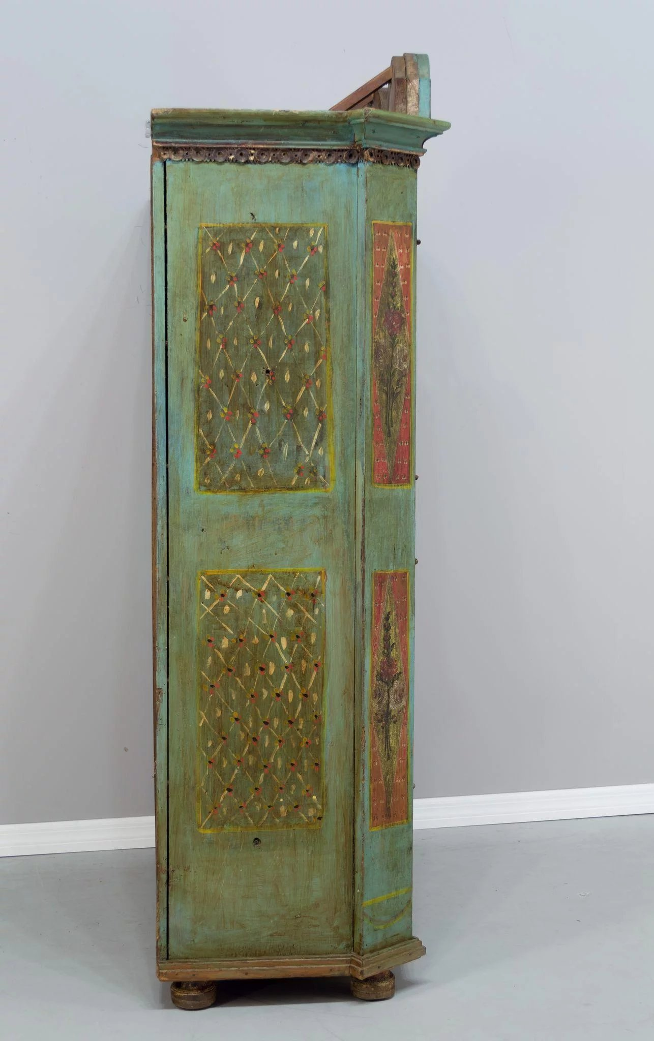 19th Century French Painted Armoire From Alsace Olivier