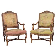 Pair of 19th c. French Louis XV Style Arm Chairs