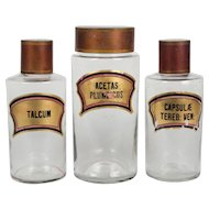 Set of Three 19th c. French Apothecary Bottles