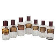 Set of Seven 19th c. French Apothecary Bottles