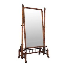 French Faux Bamboo Cheval Mirror