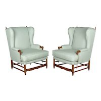 Pair of Country French Fauteuils or Wing Chairs