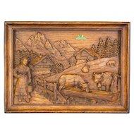 Swiss Carved Oak Relief