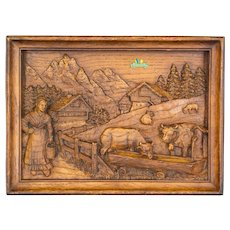 Swiss Carved Oak Relief of Farm Scene with Milkmaid