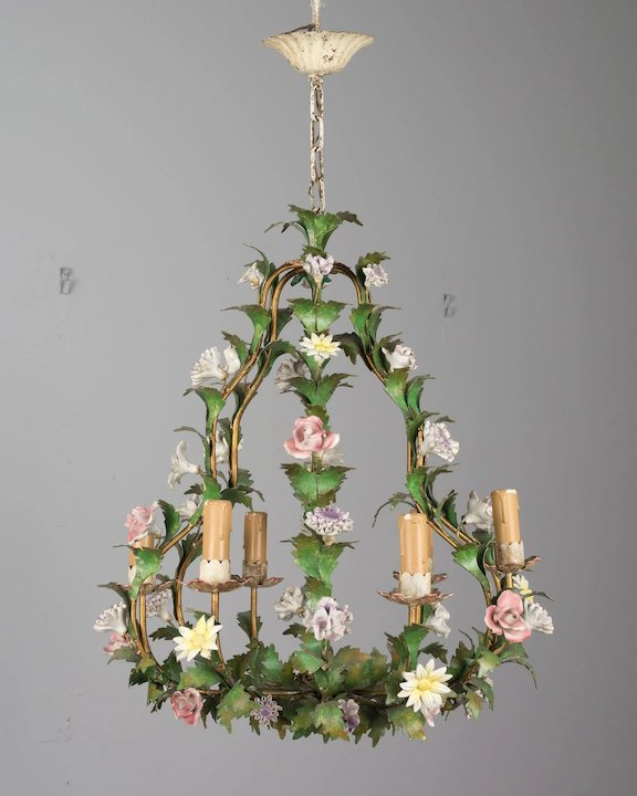 Italian tole chandelier with porcelain flowers olivier fleury inc italian tole chandelier with porcelain flowers mozeypictures Image collections