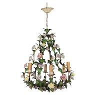 Italian Tole Chandelier with Porcelain Flowers