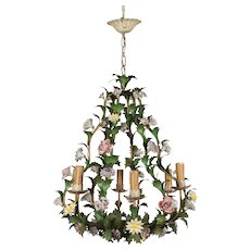 Italian Tole Chandelier with Porcelain Flowers
