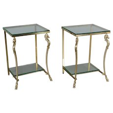 Pair of French Maison Jansen Brass Side Tables