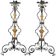 Pair of 19th c. Italian Wrought Iron Torchieres