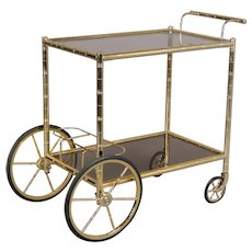 Mid Century French Brass Bamboo Bar Cart