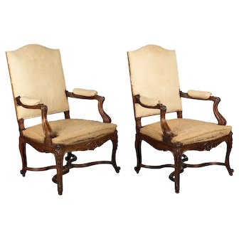 Pair of French Regency Style Fauteuils