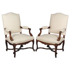 Pair of French Regency Style Fauteuils or Armchairs