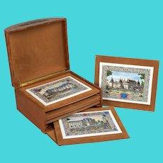 French Chateaux Porcelain Plaques - Box Set of Six