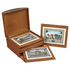 French Chateaux Porcelain Plaques - Box Set of Six
