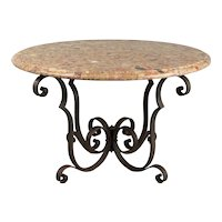 French Art Deco Wrought Iron Marble Top Coffee Table