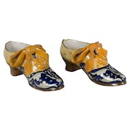Pair of 18th c. French Faience Shoes