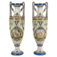 Pair of Italian Faience Vases
