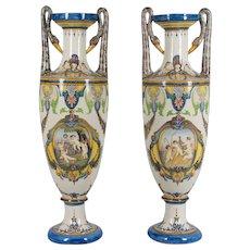 Pair of Italian Faience Vases
