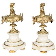 Pair of 19th c. Bronze & Marble Cassolettes