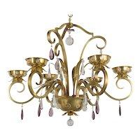 French Mid Century Brass Chandelier