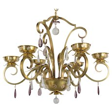 French Mid Century Brass Chandelier
