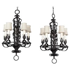 Spanish Colonial Revival Chandelier Pair