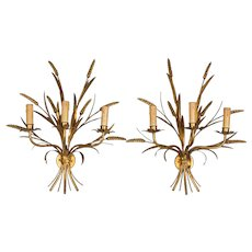 Pair of Italian Gilt Sheaf of Wheat Sconces