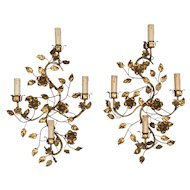 Pair of Italian Gilt Tole Sconces