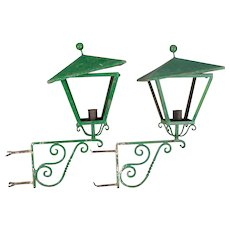 Pair of Antique French Architectural Wrought Iron and Tole Lanterns