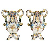 Pair of 19th c. Desvres Faience Vases