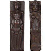 Two Italian Carved Walnut Figures
