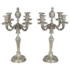 Pair of 19th c. French Silver Plate Candelabra