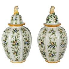 Pair of Italian Faience Urns
