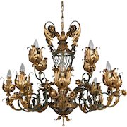 French 1940's Parcel Gilt Chandelier