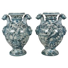 Pair of 18th c. Italian Faience Pharmacy Vases